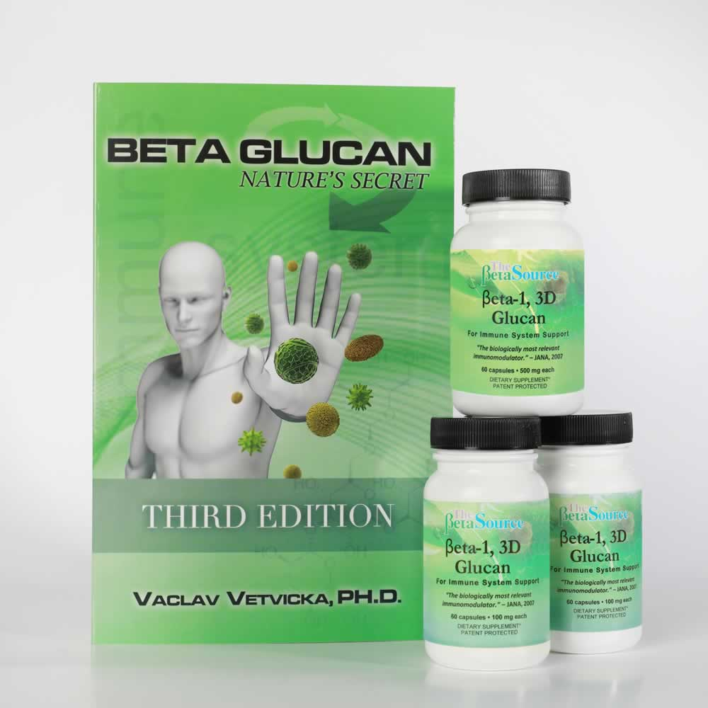 Click here to order one (1) bottle of Beta Glucan 500 mg and two (2) Bottles of 100mg and we will send you a copy of Dr. Vetvicka's book, Beta Glucan: Nature's Secret FREE!