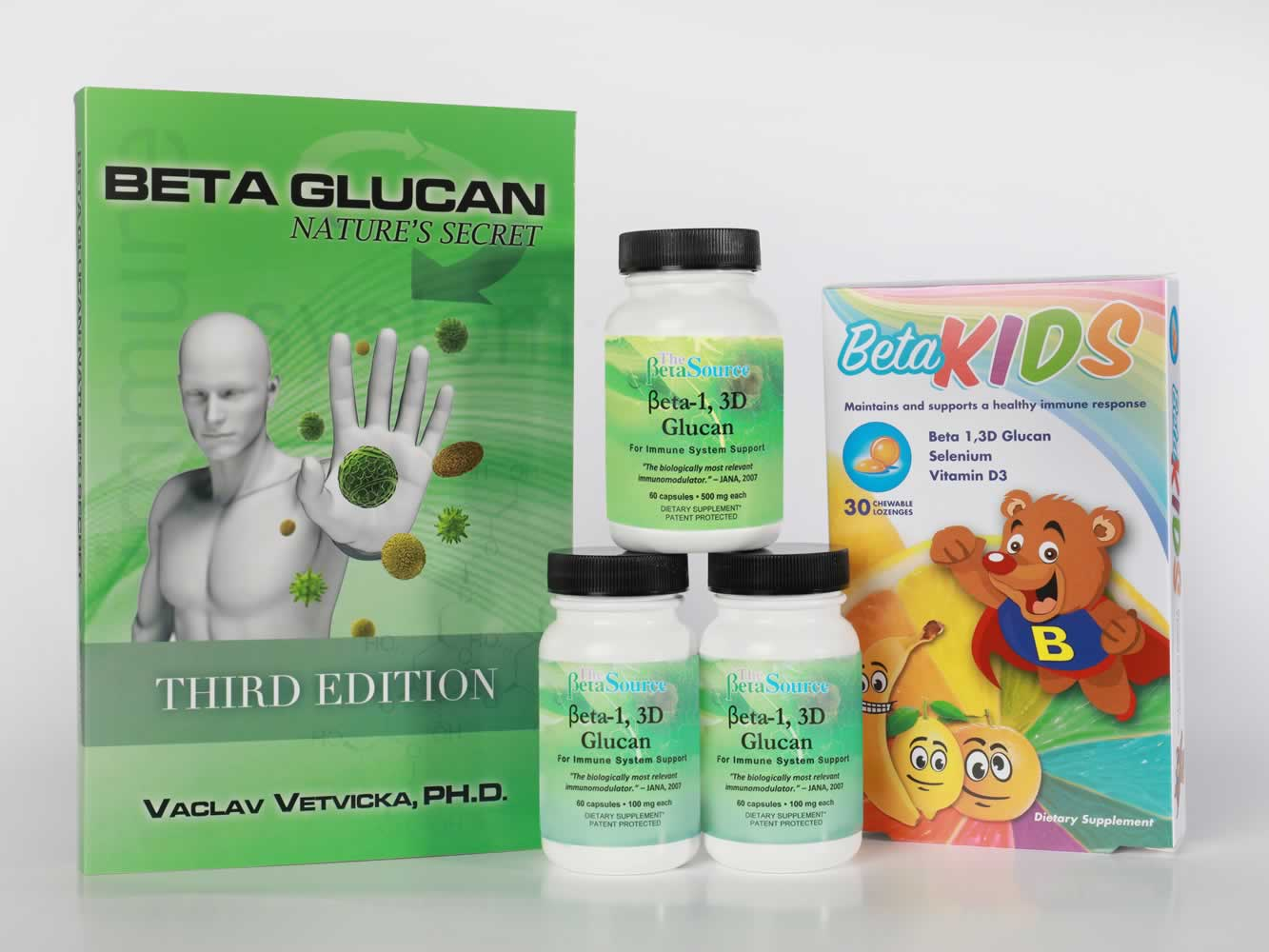 "Click here to Order 2 bottles of 100 mg, 1 bottle of 500 mg of Beta Glucan and 1 box of BetaKids .  We will send you a copy of Dr. Vetvicka's book, Beta ""Glucan: Natures Secret 3rd Edition"" FREE!"